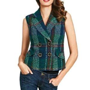 CAbi Plaid Tweed Wool Blend Vest Size Medium 908